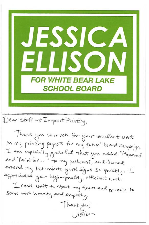 Jessica Ellison review of Impact Printing.